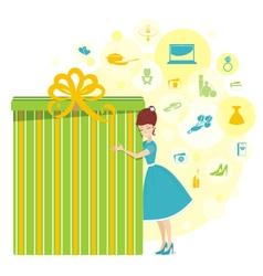 Big present for woman yellow vector image
