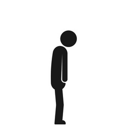 Black stick figure like depression isolated on vector