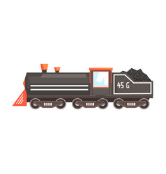 Black train locomotive colorful cartoon vector