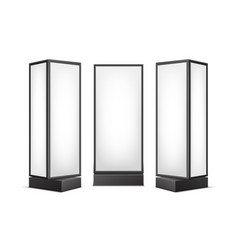 Black white luminous pillars for advertising vector