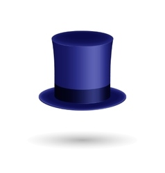 Blue gentleman hat cylinder with silk ribbon vector image