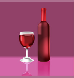 bottle red vine glass luxury vector image