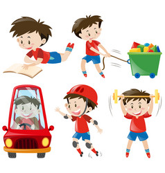 Boy in red shirts doing different actions vector