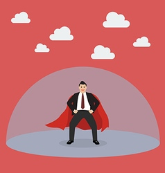 Businessman superhero with protection power vector