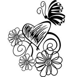 butterflies flowers vector image vector image