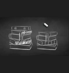 chalk drawn books vector image