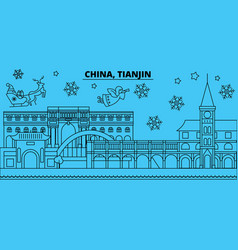 china tianjin winter holidays skyline merry vector image