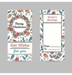 Christmas Cards Line Style Winter Season vector image
