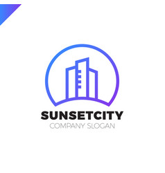city in sun icon logo design element vector image
