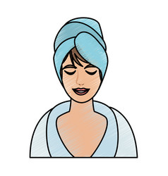 Color pencil cartoon half body woman with towel in vector