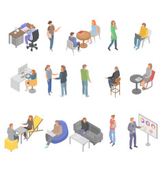 Coworking office business icons set isometric vector