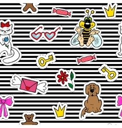 Cute fashion seamless pattern with patch badges vector image