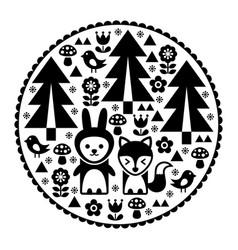 Cute scandinavian round folk art pattern in black vector