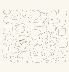 cute speech bubble doodle set vector image