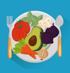 dish with group vegetables vector image