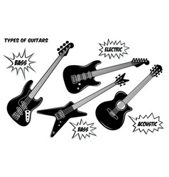 electric bass and acoustic guitar with 6 and 4 vector image