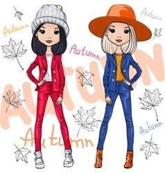 Fashion girls in autumn clothes vector