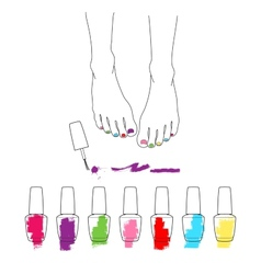 Female feet with pedicure chiropody vector