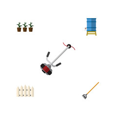 Flat icon dacha set of tool grass-cutter wooden vector