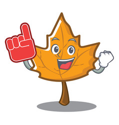 Foam finger maple character cartoon style vector