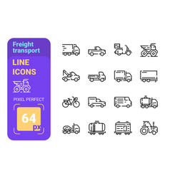 freight transport line icons set vector image