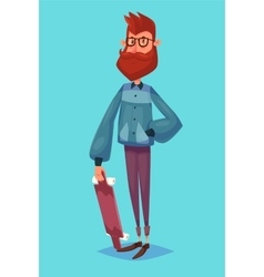 Funny of hipster cartoon character vector