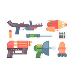 futuristic guns toys colored funny weapons vector image