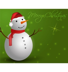 Green background with snowman vector
