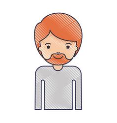 Half body man with short hair and van dyke beard vector