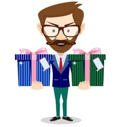Handsome businessman in formal suit holding a gift vector