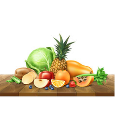 healthy food organic fruit at wooden table vector image