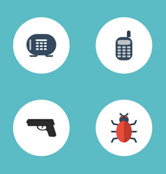icons flat style safe virus gun and other vector image