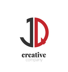 initial letter jq creative elegant circle logo vector image