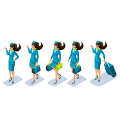 isometry flight attendant girl at work a vector image