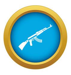Kalashnikov machine icon blue isolated vector