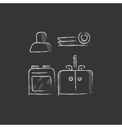 Kitchen interior Drawn in chalk icon vector