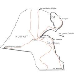 Kuwait Black White Map vector