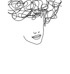 Line art abstract beautiful female face 16 vector