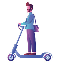 Man on electric scooter on white vector