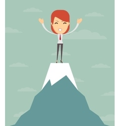 Man on top of the world vector image