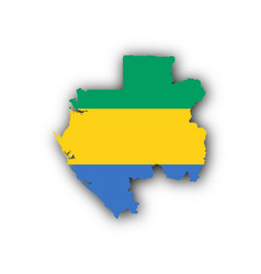 map and flag of gabon vector image