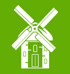 Mill icon green vector