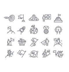 Mission purpose objective aim outline icons vector