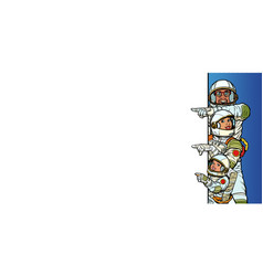 multi race family astronauts mom dad and son vector image