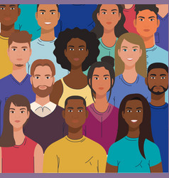 Multiethnic group people together diversity vector