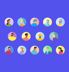 Multiracial and international people in round icon vector