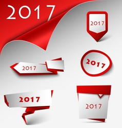New Year card with red design pointers template vector
