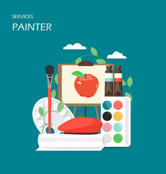 painter artist services flat style design vector image