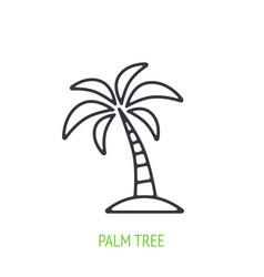 palm tree outline icon tropical and island vector image