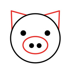 Pig head farm icon vector